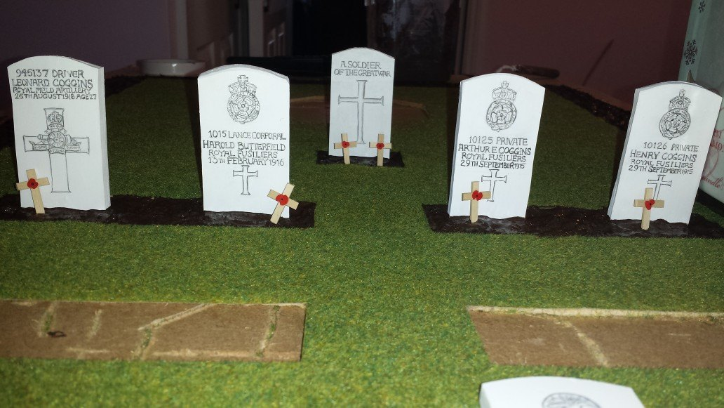 Some completed headstones