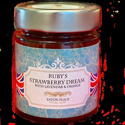 Rubys Strawberry Dream Erbeer Konfitüre mit Lavendel und Orangenabrieb