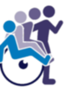 Logo of person in wheelchair sitting to standing