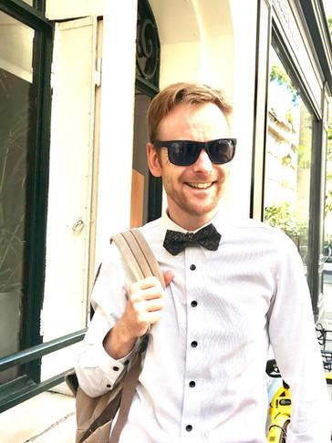 UTAI bow tie wearer in Paris