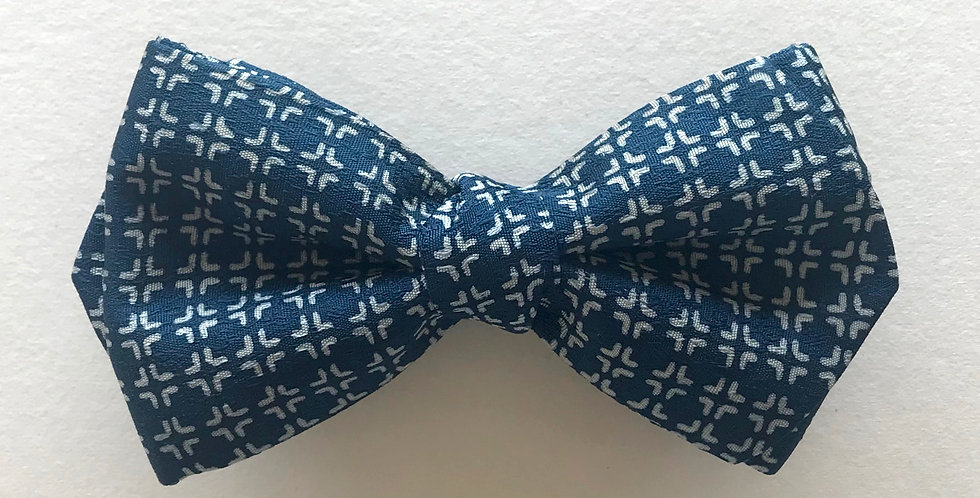 ボウタイ|ブルー 白 パターン