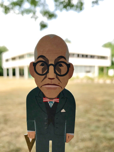 Corbusier in front of Villa Savoye