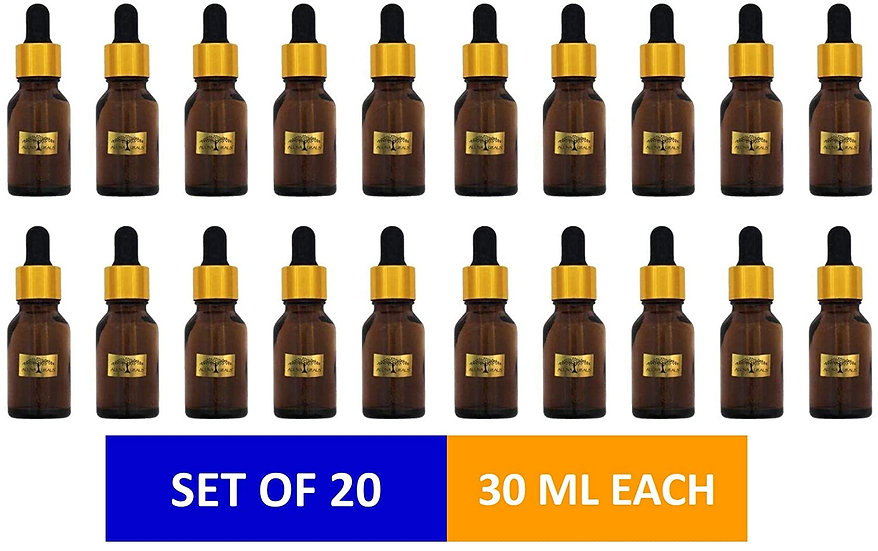 Amber Glass Bottles with Dropper and Metallic Cap (30 ml)-Set of20