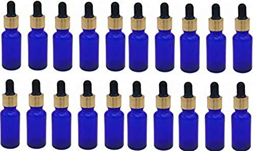 Blue Glass Bottles with Dropper and Metallic Cap ( 15 ml)