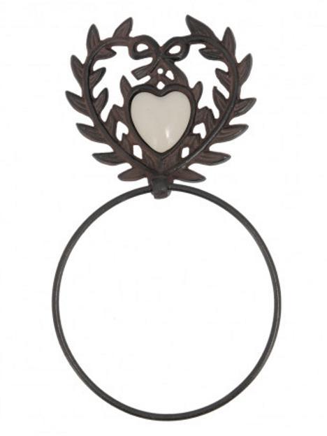 Porte serviette éponge en fonte et coeur céramique