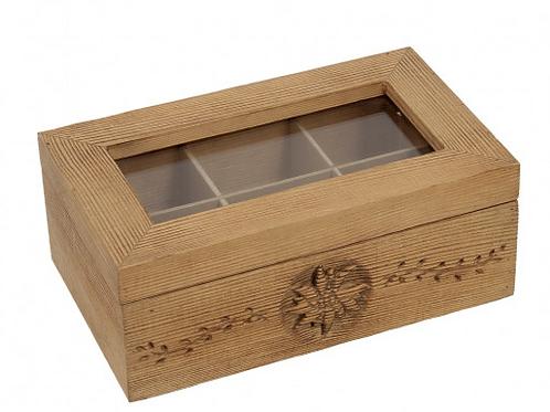 Boîte à thé en bois vieilli