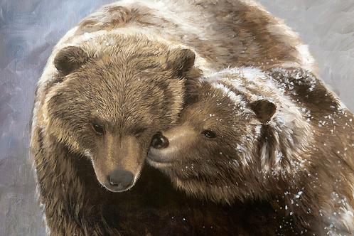 Toile sur châssis - Câlin d'ours brun