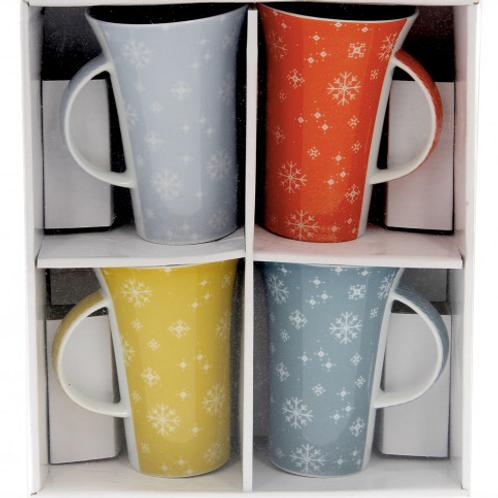 4 mugs Flocons