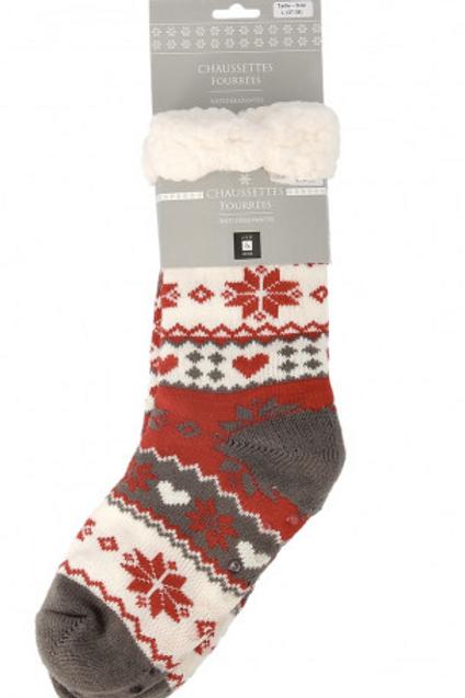 Chaussettes fourrées unisexes rouge blanc gris