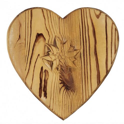 Dessous de plat coeur en bois vieilli