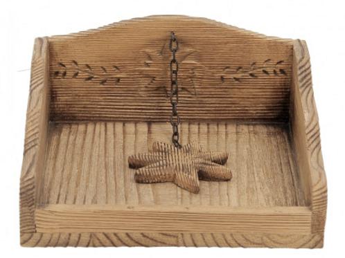 Range serviette edelweiss en bois vieilli
