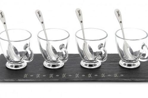 Ardoise tasses à expresso cuillères gravées skis et flocons 30x12cm