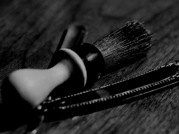 BW shaving brush on wood