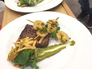 Grill Fillet Steak Surf & Turf, wild garlic pesto cream potatoes