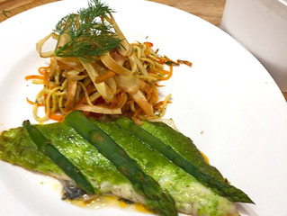 Baked Fillet Of Seabass With Asparagus