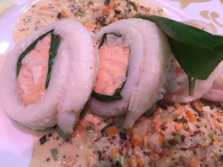 Poached Lemon Sole & Salmon Paupiette with wholegrain mustard sauce