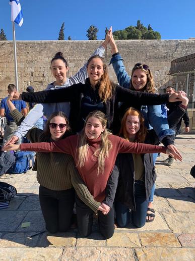 Birthright Israel Participants making a human Magen David at the Kotel