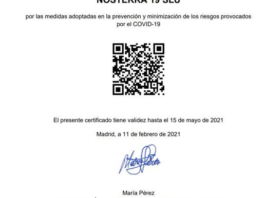 Hemos obtenido el Certificado de Restaurante Seguro frente al COVID19