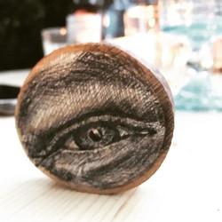 Henry's eye 👁 ✒️ ink on wood 🌳 •_•_•_•