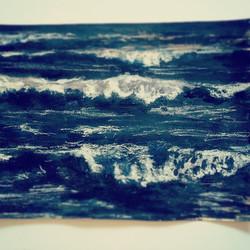 #sketch finally completed #aquarell #charcoal #waves#ocean#water#darksea#sketchbook#janoum