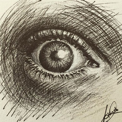ink & pencil on paper_I thank you for following - as a thanks I will draw the eye of every 50th foll