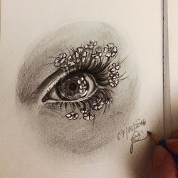 #eye with #flowerlashes pencil and ink on paper__#sketch#quicksketch#pencil#pencilsketch#pencilonpap