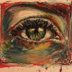 'red sad eye' _#quicksketch _#oilpastel and #watercolor on #paper •_•_•_•_•_•_•_•_•_#art#illustratio