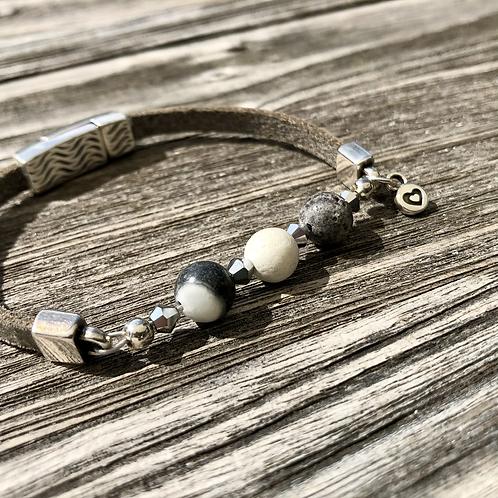 Armband Leder und grauer Achat