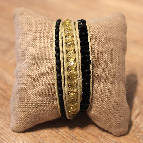 Wickelarmband, grüntöne/schwarz