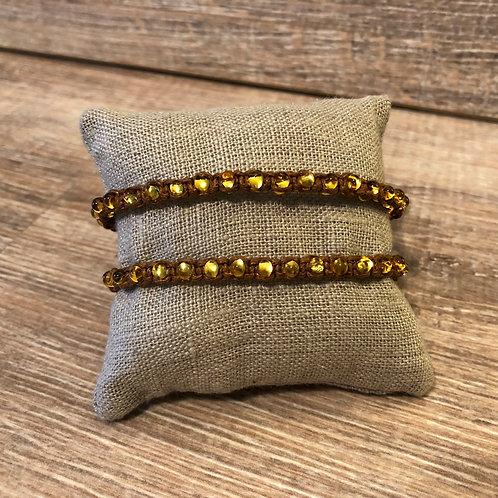 Shamballa Armband, braun mit Perlen