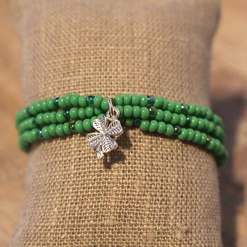 Perlenarmband Kleeblatt, grün