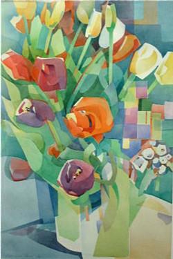 Tulpenstrauss in Vase