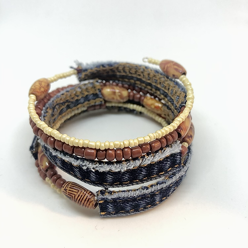 Armreif Memory Wire - Jeans Upcycling
