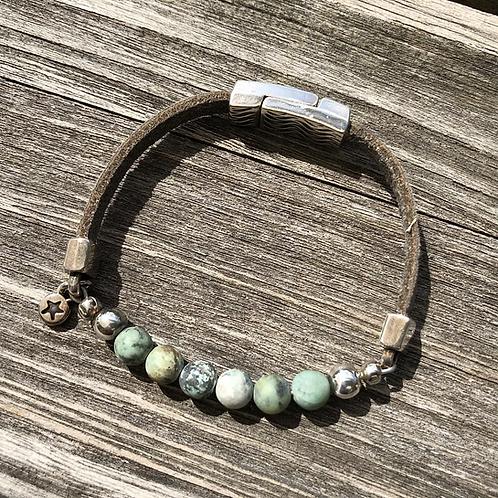 Armband Leder und grüner Achat