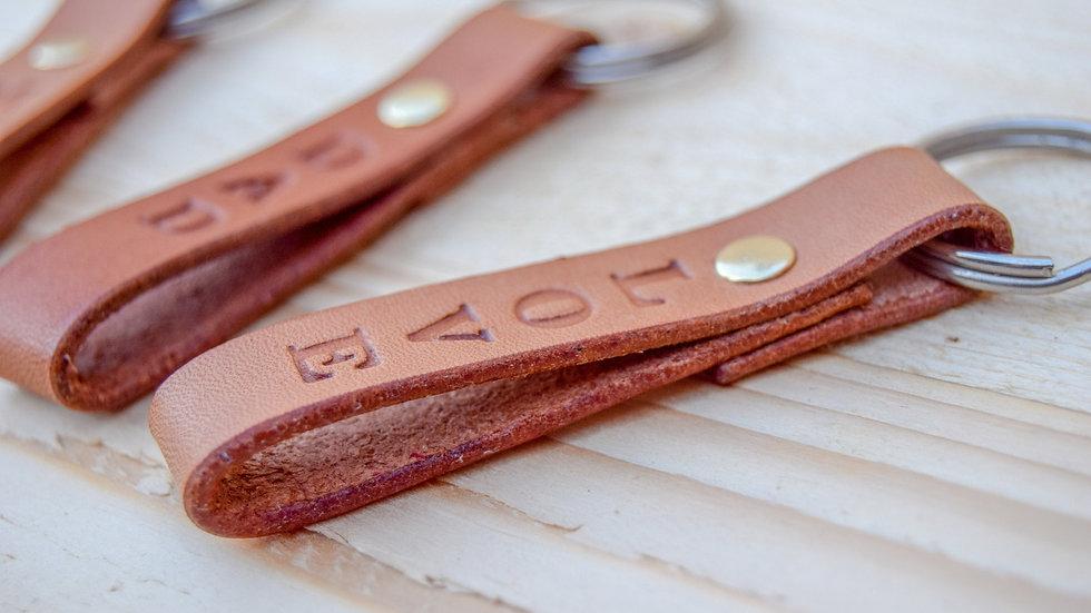 Personalised Leather Keyring - Loop key fob