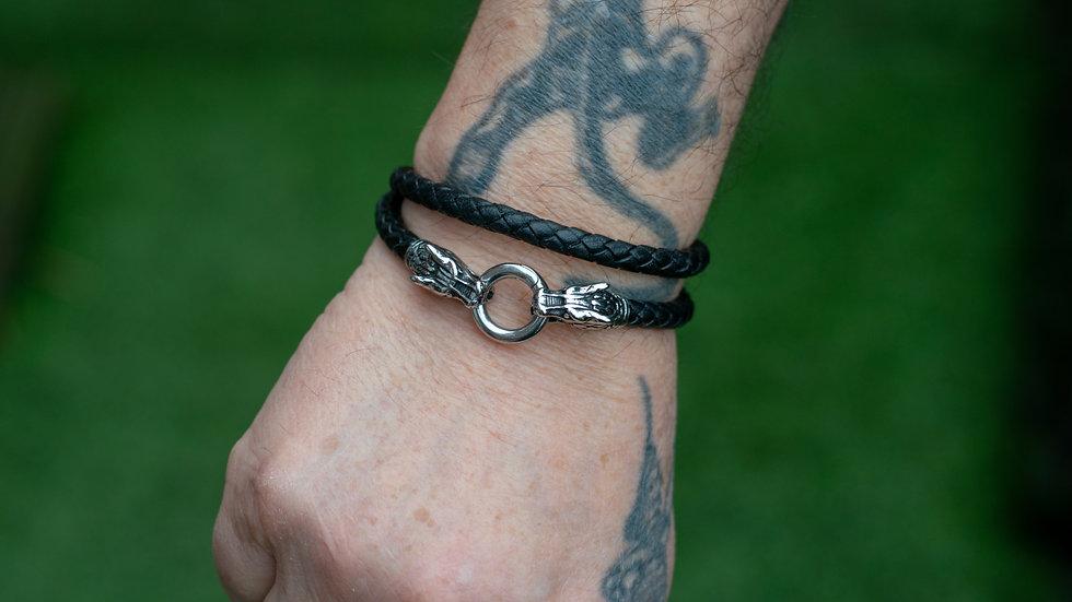Double Wrap Braided Leather Bracelet