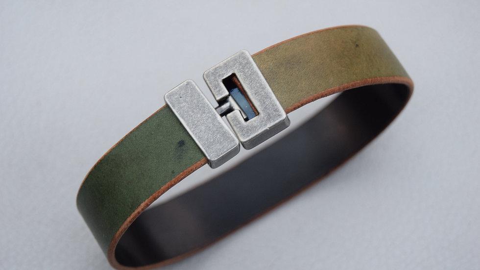 Leather Bracelet - Horween Shell Cordovan - Reverse Green