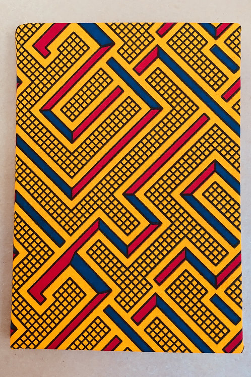 Yellow Maze Design African Wax Print sketchbook