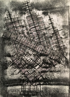 Existential risk. Monoprint. 14 x 10 in. 2020  Private collection: Buffalo, NY