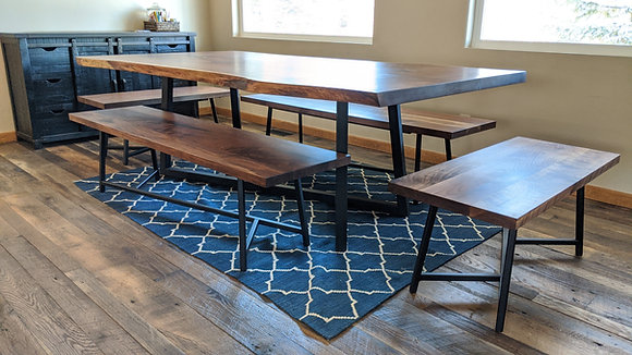 Walnut Dining Table and Benches