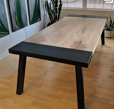 Bookmatched Elm Dining Table With Steel Breadboards