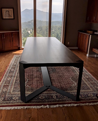 Walnut Dining Table With Blackened Steel Base