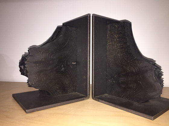 Ebonized Elm Bookends