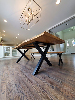 Elm Dining Table and Bench