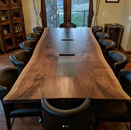 Bookmatched Walnut Dining Table with Steel Accents