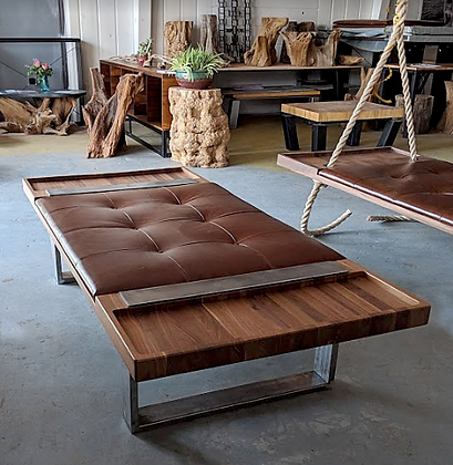 Walnut Platform With Leather Cushion