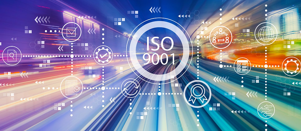 ISO 9001 with abstract high speed techno