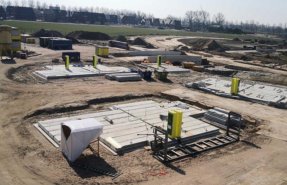 Dronebeeld CEHEtech prefab meterkast bouwplaats