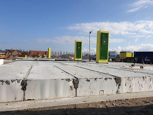 Prefab meterkast CEHEtech op bouwplaats