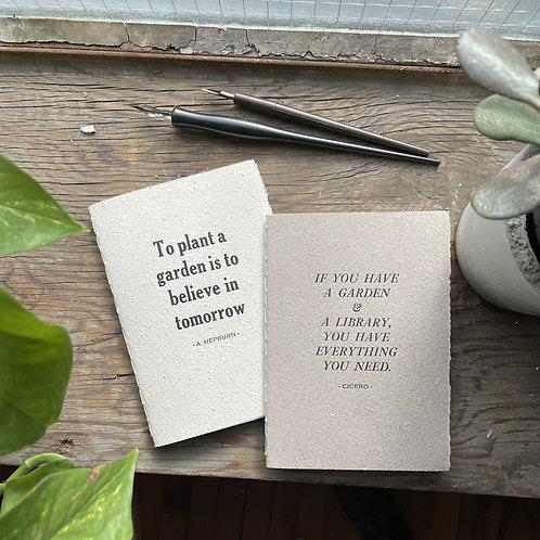 Set of two - Garden Letterpress Notebooks